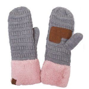 C.C Knitted Soft Fleece Two Tone Mitten Glove